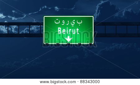 Beirut Lebanon Highway Road Sign At Night