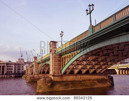 Beneath Southwark bridge