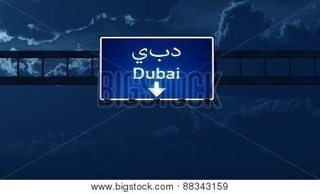 Dubai Uae Highway Road Sign At Night