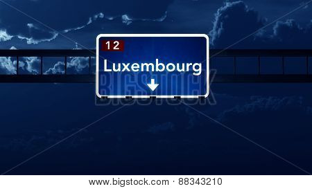 Luxembourg Highway Road Sign At Night