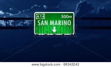 San Marino Highway Road Sign At Night