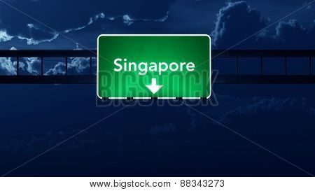 Singapore Highway Road Sign At Night