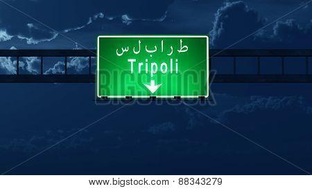 Tripoli Lebanon Highway Road Sign At Night