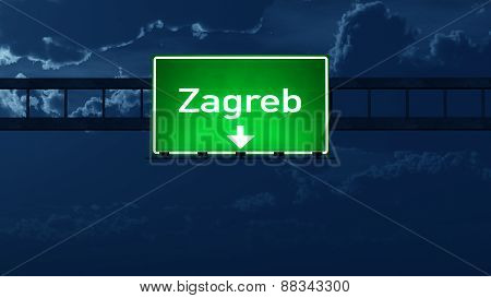 Zagreb Croatia Highway Road Sign At Night