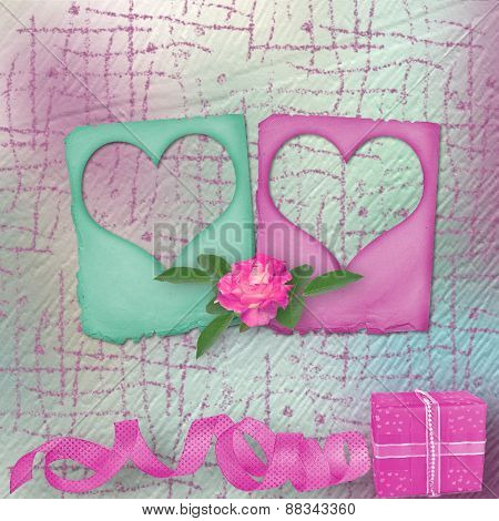 Card For Congratulation Or Invitation With Slides And Pink Roses