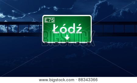 Lodz Poland Highway Road Sign At Night