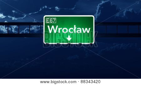 Wroclaw Poland Highway Road Sign At Night