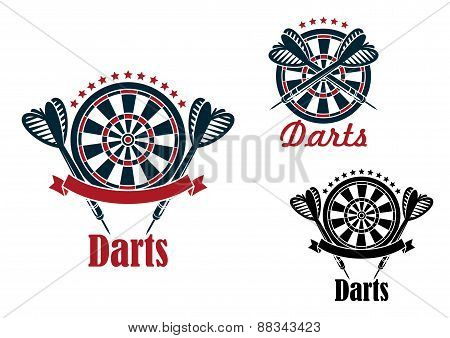Darts sport game emblems and symbols