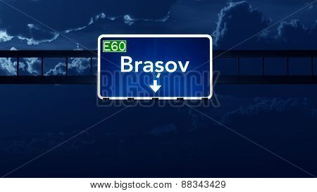 Brasov Romania Highway Road Sign At Night