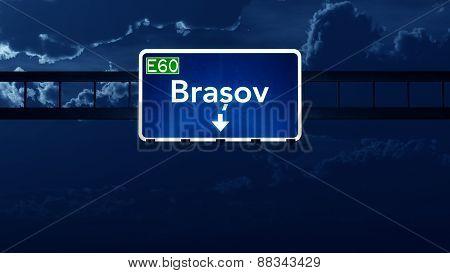 Brasov Romania Highway Road Sign At Night