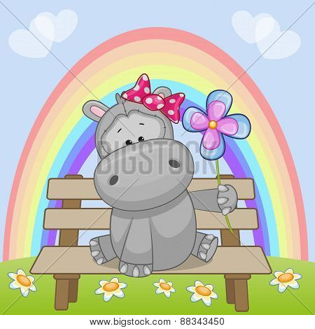 Hippo With Flower