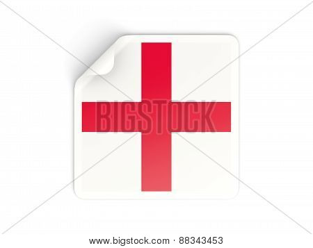 Square Sticker With Flag Of England