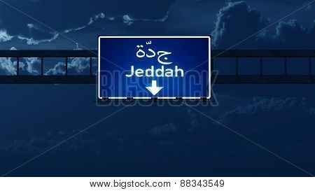 Jeddah Saudi Arabia Highway Road Sign At Night