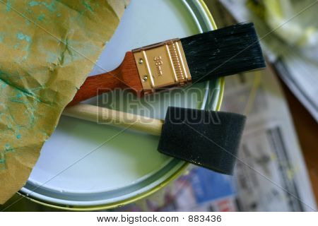 Paint Brush / Tools And Can