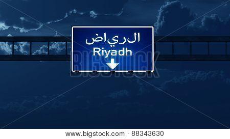 Riyadh Saudi Arabia Highway Road Sign At Night