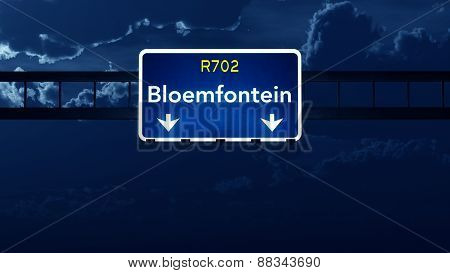 Bloemfontein South Africa Highway Road Sign At Night