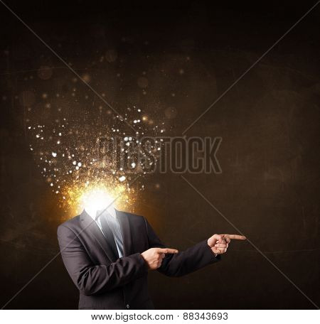 Business man with glowing exploding head concept