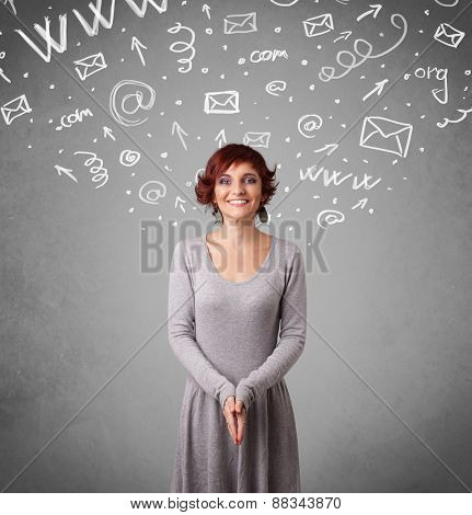 Pretty young girl with abstract white media icon doodles on gradient background