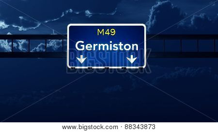 Germiston South Africa Highway Road Sign At Night