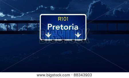 Pretoria South Africa Highway Road Sign At Night