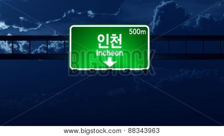 Incheon South Korea Highway Road Sign At Night