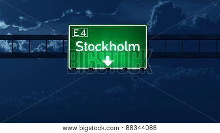 Stockholm Sweden Highway Road Sign At Night