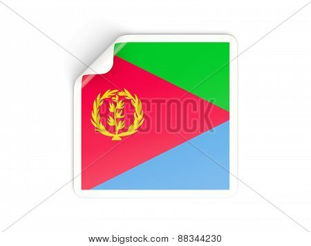 Square Sticker With Flag Of Eritrea