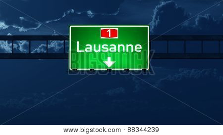 Lausanne Switzerland Highway Road Sign At Night