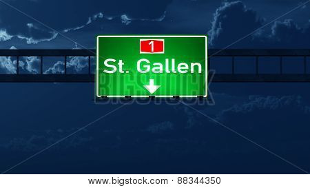 St Gallen Switzerland Highway Road Sign At Night