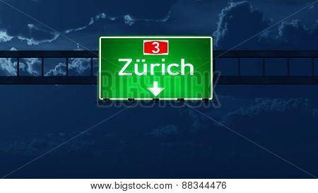 Zurich Switzerland Highway Road Sign At Night