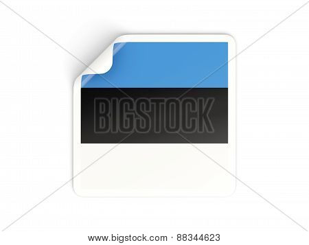 Square Sticker With Flag Of Estonia