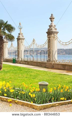 View At Bosphorus Through Fence Near Dolmabahce Palace In Istanbul, Turkey