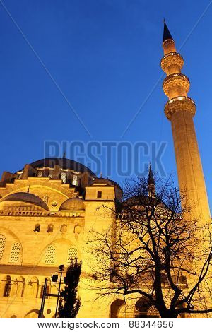Suleymaniye Mosque Night View, The Largest In The City, Istanbul, Turkey