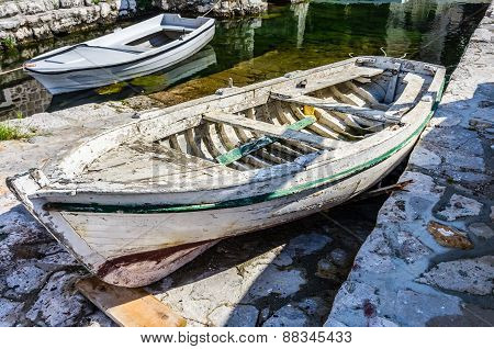 Old White Wooden Boat