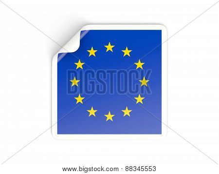 Square Sticker With Flag Of European Union