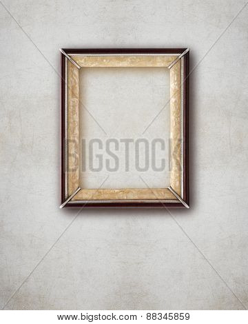 Old Picture Frame  Wood Isolated On Wall Effect Background