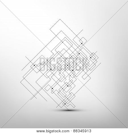 Abstract background vector.  Technical construction with connected lines and dots. Vector illustrati