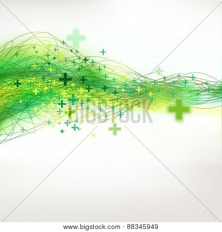 Summer Decorative Drawing Green  Background With Pluses