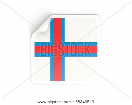 Square Sticker With Flag Of Faroe Islands