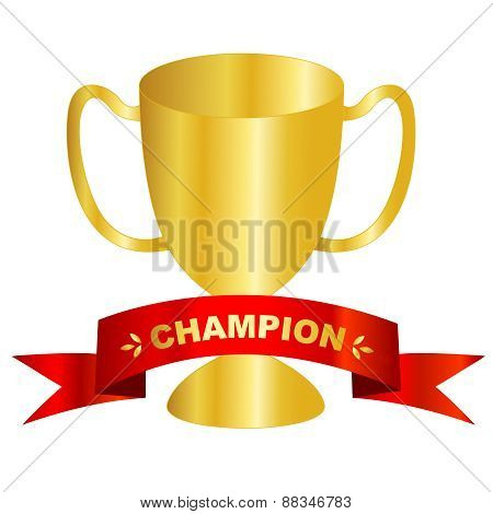 Gold Trophy With Champion Text