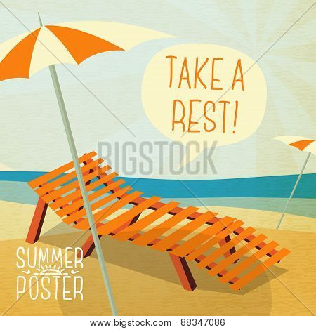 Cute summer poster - sun bathe on the chaise longue with umbrella, speech bubble for your text. Vect