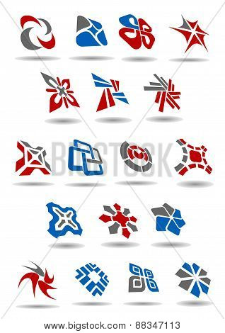 Geometric abstract icons and emblems for business