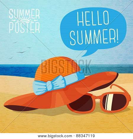Cute summer poster - hat and sun glasses on the beach sand, speech bubble for your text. Vector.