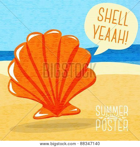 Cute summer poster - sea shell on the shore, with speech bubble for your text.