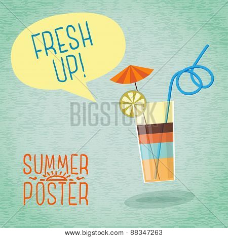 Cute summer poster - cocktail with umbrella, lemon and tube, speech bubble for your text. Vector.