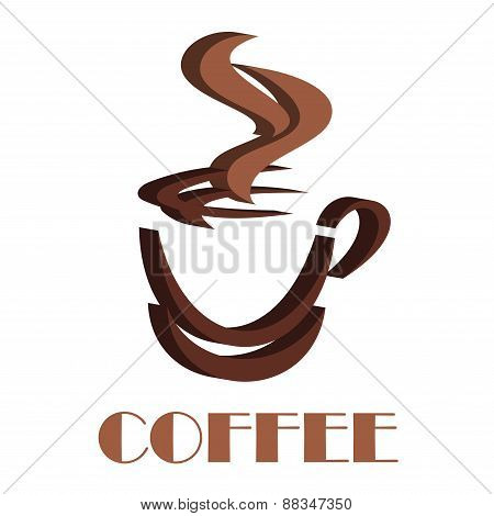 Steaming coffee cup volume symbol