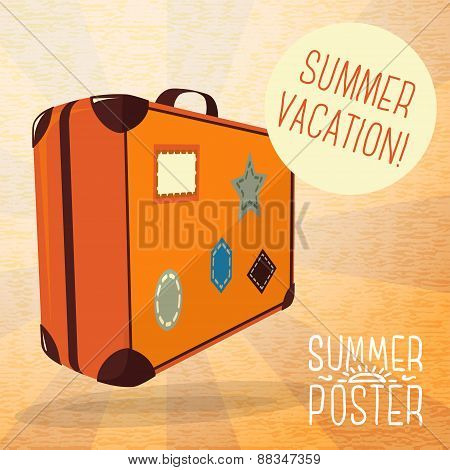 Cute summer poster - journey suitcase with labels, speech bubble for your text. Vector.