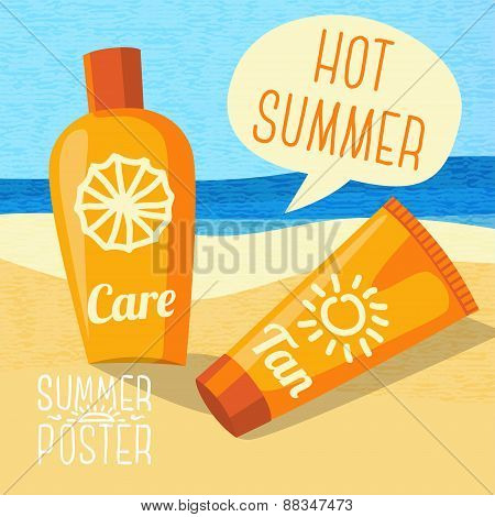 Cute summer poster - sun care creams on the beach, with speech bubble for your text.
