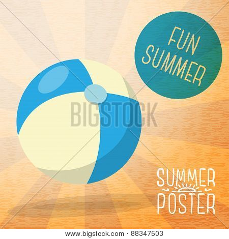 Cute summer poster - blue and yellow striped beach ball, with speech bubble for your text.