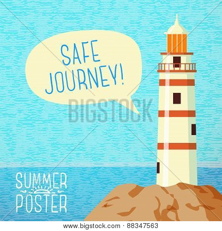 Cute summer poster - sea beacon on the rock, with speech bubble for your text. Vector.